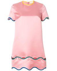 Sara Battaglia - Contrast Scalloped Trim Dress - Lyst
