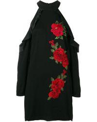 Philipp Plein - Cold Shoulder Rose Embroidered Dress - Lyst