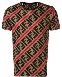 1436e7b1aca Fendi - Double F Logo T-shirt - Lyst
