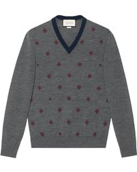Gucci - Wool V-neck With Bees And Stars - Lyst