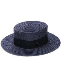 14e88761d3de4b Maison Michel Kiki Hemp Strap Boater Hat in White - Lyst