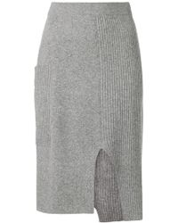 Pringle of Scotland - Asymmetric Ribbed Knit Skirt - Lyst