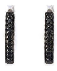 Wouters & Hendrix - Black Diamond Hoop Earrings - Lyst