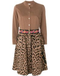 Bazar Deluxe - Embroidered Leopard Print Shirt Dress - Lyst