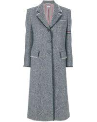 Thom Browne Striped Frayed-edge Overcoat