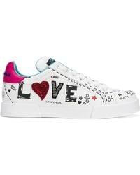Dolce & Gabbana - Love Graffiti Logo Trainers - Lyst