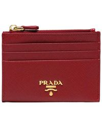 Prada - Red Safiano Zip Leather Cardholder - Lyst