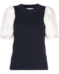Sea Contrasting Sleeve Knitted Top