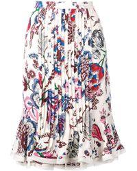 Tory Burch - Floral Pleated Midi Skirt - Lyst
