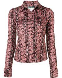 6533533795b736 ALEXACHUNG - Snakeskin Print Lace-up Shirt - Lyst
