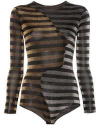 Alexia Hentsch - X Browns Glitter Stripe Long Sleeve Bodysuit - Lyst