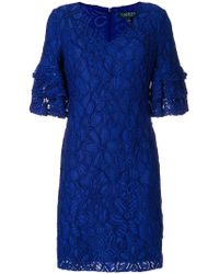Lauren by Ralph Lauren - Embroidered Floral Dress - Lyst