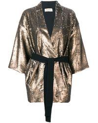 Black Coral - Sequin Embellished Belted Jacket - Lyst