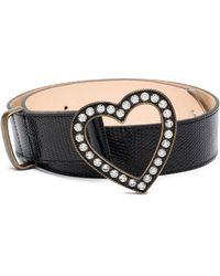 Alessandra Rich - Black Heart Crystal Embellished Lizard Skin Belt - Lyst