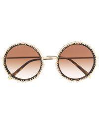3e91af5147b0 Dolce   Gabbana Crystal-embellished Round-frame Gold-tone Sunglasses ...
