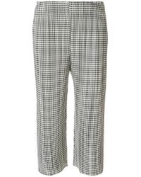 Pleats Please Issey Miyake - Cropped Gingham Plissé Trousers - Lyst