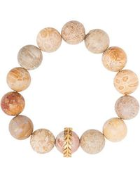 Cathy Waterman - 22kt Gold Light Fossilized Coral Wheat Overlay Bracelet - Lyst