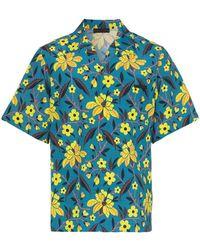 Prada - Flower Print Short Sleeved Shirt - Lyst