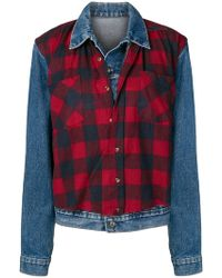 R13 - Layered Check Denim Jacket - Lyst