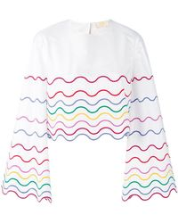 Sara Battaglia - Wave Patterned Blouse - Lyst