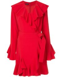 Goen.J - Fluted Sleeve Ruffle Trim Wrap Dress - Lyst