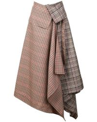 Monse - Patchwork Plaid Asymmetric Skirt - Lyst