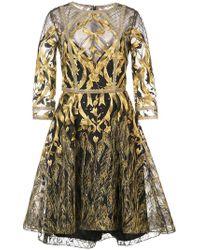 Marchesa notte - Mesh Overlay Metallic Embroidered Dress - Lyst