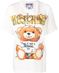 Moschino - Oversized Printed Stretch-cotton Jersey T-shirt - Lyst