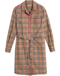 Burberry - Contrast Piping Check Shirt Dress - Lyst