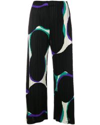 Pleats Please Issey Miyake - Abstract Print Cropped Trousers - Lyst