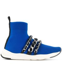 Balmain - Chain-embellished Knitted Trainers - Lyst