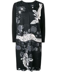 Class Roberto Cavalli - V-neck Eagle Print Dress - Lyst