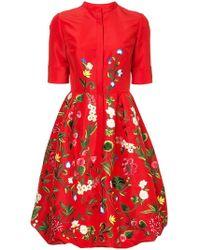 Oscar de la Renta - Botanical Embroidered Dress - Lyst