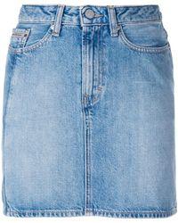 Calvin Klein Jeans | Vertical Stripe Denim Mini Skirt | Lyst