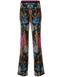 Etro - Striped Waisted Flare Leg Trousers - Lyst