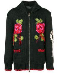 Alexander McQueen - Intarsia Chunky Knit Cardigan - Lyst
