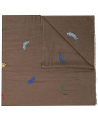 Janavi - Brown Feather Embroidered Scarf - Lyst