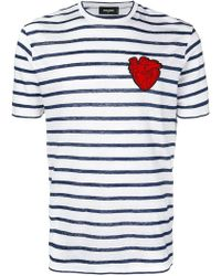 DSquared² - Striped T-shirt With Heart Patch - Lyst