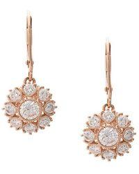 Marchesa - 18kt Rose Gold Floral Diamond Drop Earrings - Lyst