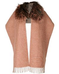 Fendi - Fur Trim Striped Scarf - Lyst
