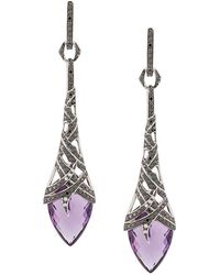 Stephen Webster - 18kt White Gold, Amethyst And Diamond Drop Earrings - Lyst