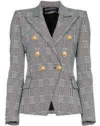 Balmain - Prince Of Wales Tweed Cotton Blend Blazer - Lyst