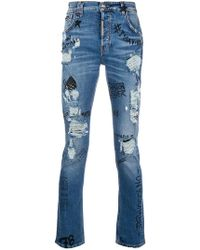 Philipp Plein - Graffiti Distressed Jeans - Lyst