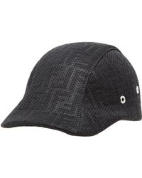 0c430934199 Fendi Logo Embossed Leather   Nylon Hat in Black for Men - Lyst