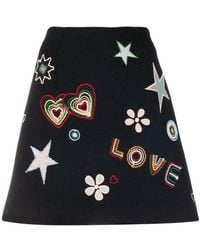 Chinti & Parker - Love Embroidered Mini Skirt - Lyst