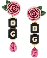 Dolce & Gabbana - Rose And Dice Drop Clip-on Earrings - Lyst