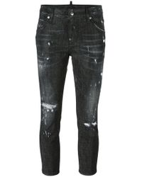 DSquared²   Cool Girl Cropped Microstudded Jeans   Lyst