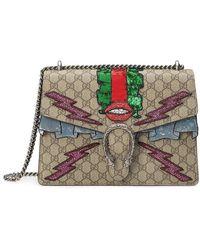 9d66afa4bdc Lyst - Gucci Dionysus Embroidered Medium Gg Supreme Hobo