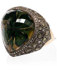 Sevan Biçakci - 24k Gold Intaglio Clover Diamond And Citrine Ring - Lyst