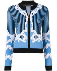 Versace - Embroidered Zip Cardigan - Lyst